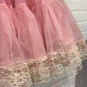 none Skirts - Light pink petticoat crinoline pinup retro lace